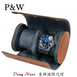 P&W 手工皮革材質 名錶收藏盒 (2支裝錶盒 棕+灰色)