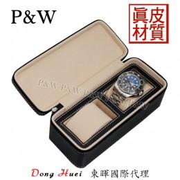 P&W 手工 真皮 名錶收藏盒 (2支裝錶盒 黑+米色)