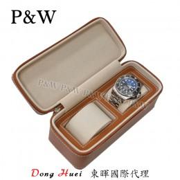 P&W 手工皮質 名錶收藏盒 (2支裝錶盒 棕+米色)
