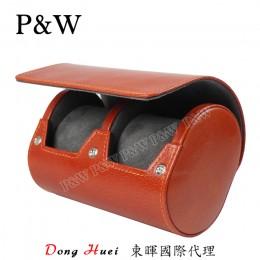 P&W 手工 真皮 名錶收藏盒 (2支裝錶盒 紅棕+灰色)