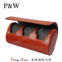 P&W 手工 真皮 名錶收藏盒 (3支裝錶盒 紅棕+灰色)