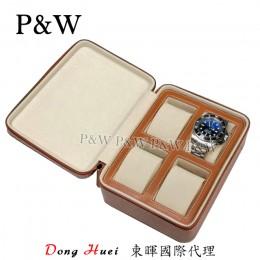 P&W 手工皮革材質 名錶收藏盒 (4支裝錶盒 棕+米色)
